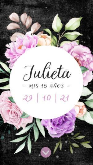 invitacion envio whatsapp flores lila