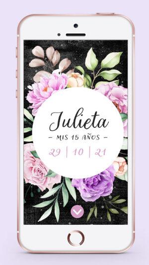 invitacion celular digital 15 años flores