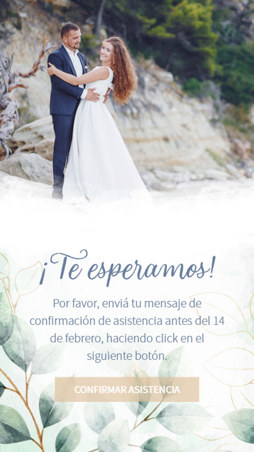 invitacion digital virtual casamiento botanica follaje hojas verde whatsapp rsvp