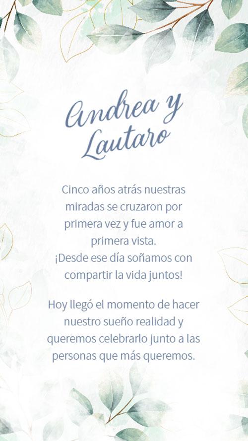 invitacion digital virtual boda botanica verde azul