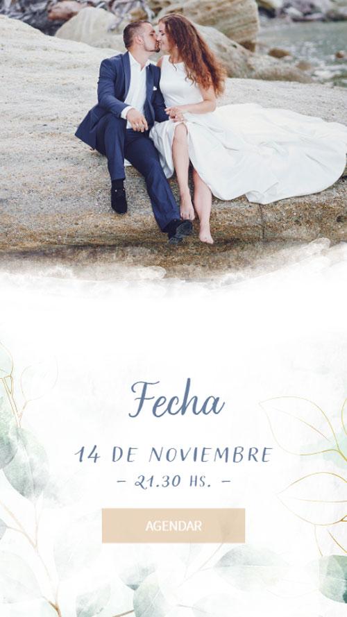 invitacion digital virtual boda follaje agendar fecha calendario save the date