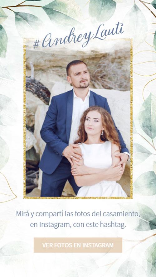 invitacion digital virtual boda botanica hashtag instagram fotos