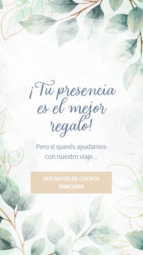 invitacion digital virtual boda lista regalo buzon cuenta bancaria