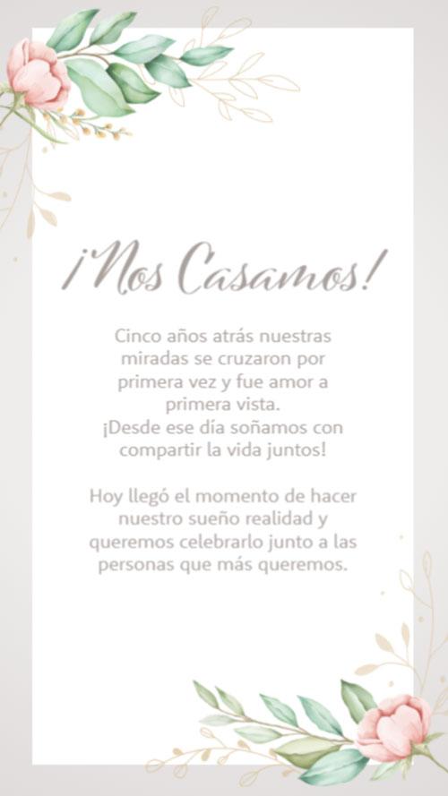 invitacion digital virtual casamiento floral