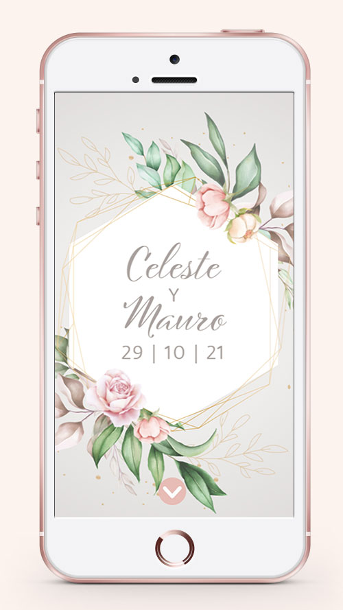 invitacion digital virtual 15 años boda flores