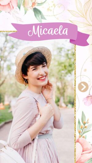 invitacion digital virtual 15 años flores femenina pasteles delicada animada musica fotos