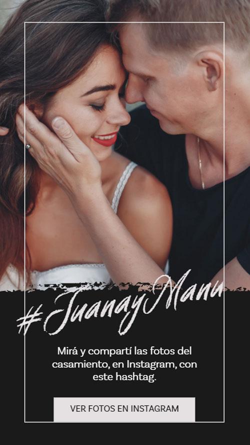 invitacion digital virtual casamiento hastag nstagram fotos