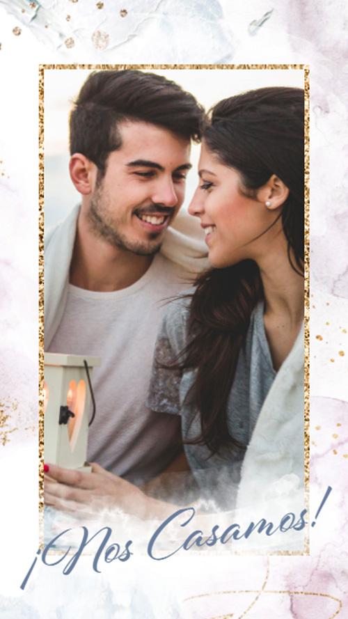 invitacion digital virtual boda manchas azul violeta acuarela pintura dorado pinceladas