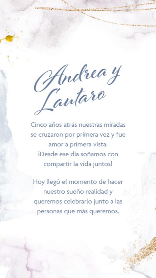 invitacion digital virtual boda manchas azul acuarela dorado pinceladas
