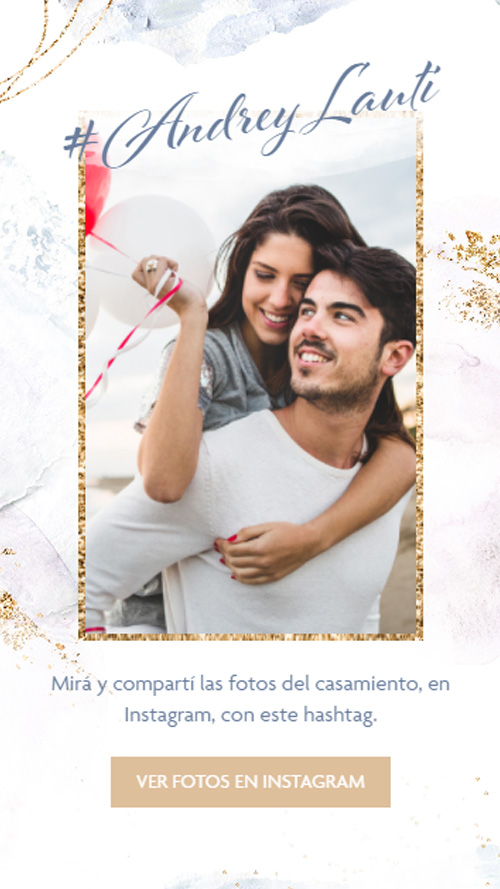 invitacion digital virtual boda pinceladas azul dorado instagram fotos