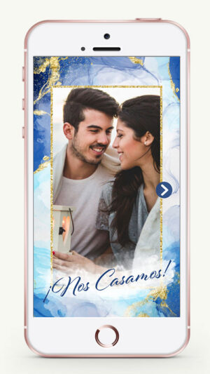 invitacion digital virtual boda manchas azul acuarela whatsapp celular